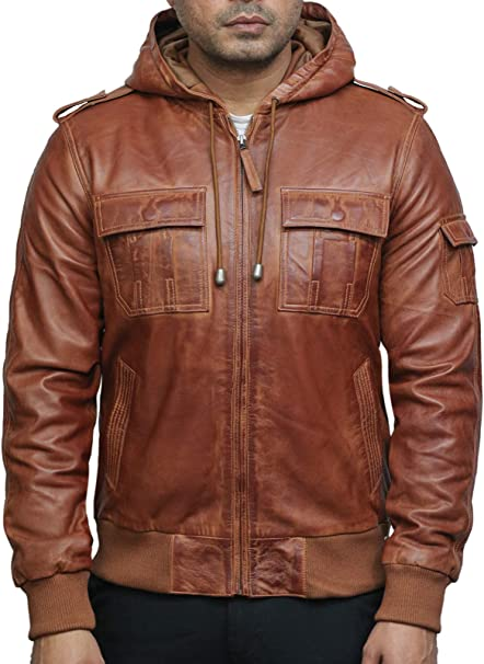 BRANDSLOCK Mens Genuine Leather Biker Jacket Sheepskin Timber