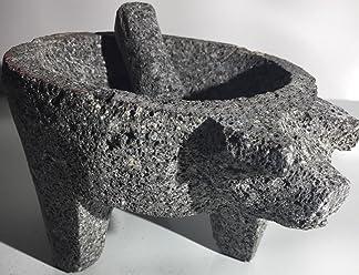 Made in Mexico Genuine Mexican Manual Guacamole Salsa Maker Volcanic Lava Rock Stone Molcajete/Tejolote