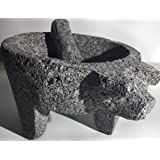 Made in Mexico Genuine Mexican Manual Guacamole Salsa Maker Volcanic Lava Rock Stone Molcajete/Tejolote