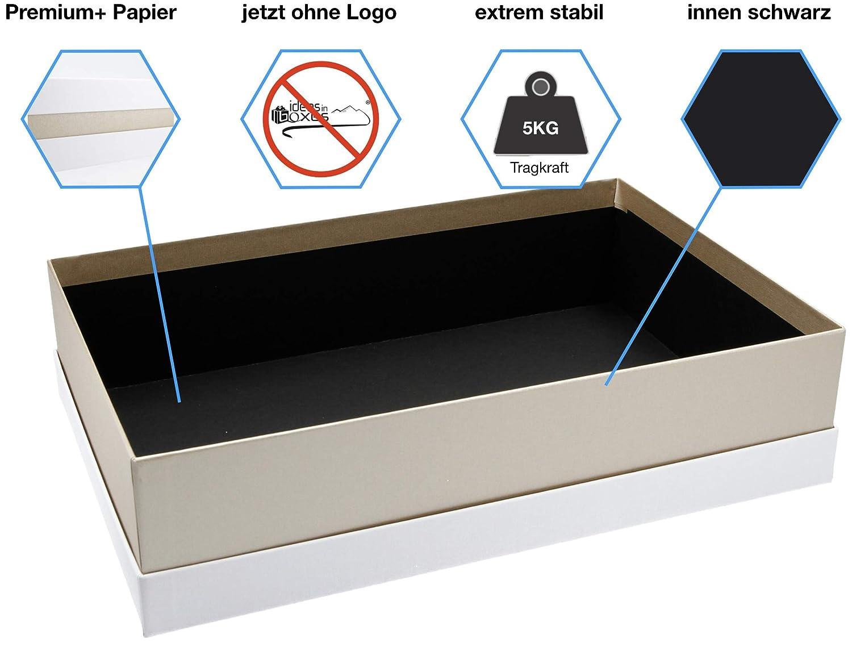 Premium-Geschenkbox 41x9x31 cm Wei/ß, Gold, Wei/ß Geschenkverpackung Made in Germany