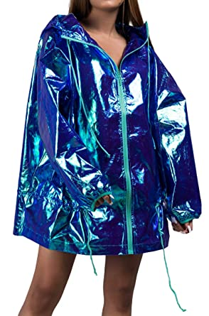 exquisite design really comfortable classic style of 2019 Amazon.com: AKIRA Women's Iridescent Shiny Hologram Hooded ...