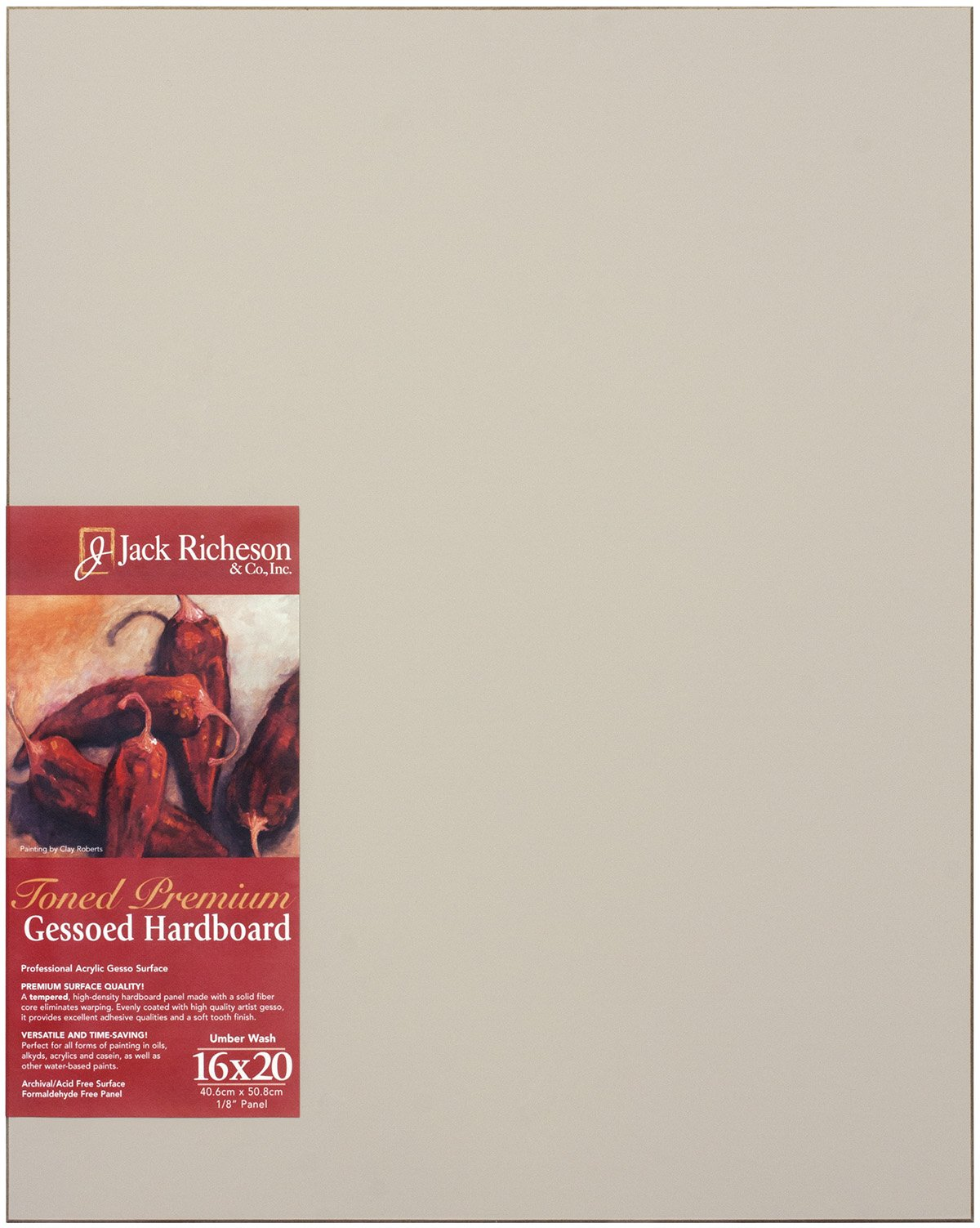 Jack Richeson Richeson Umber Wash Toned Gessoed 1/8'' Hardboard 16''x20'' by Jack Richeson