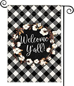 DOLOPL Fall Welcome Y'all Garden Flag 12.5x18 Inch Double Sided Decorative Buffalo Check Cotton Wreath Small Yard Garden Flags for Outside Summer Outdoor Decorations
