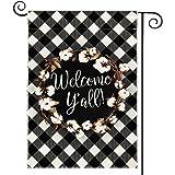 DOLOPL Fall Welcome Y'all Garden Flag 12.5x18 Inch Double Sided Decorative Buffalo Check Cotton Wreath Small Yard Garden Flag