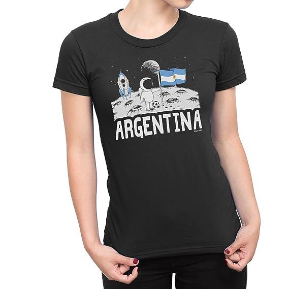 Buzz Shirts Señoras Argentina Camiseta Moon Flag Copa del Mundo 2018 Fútbol Funny Copa America