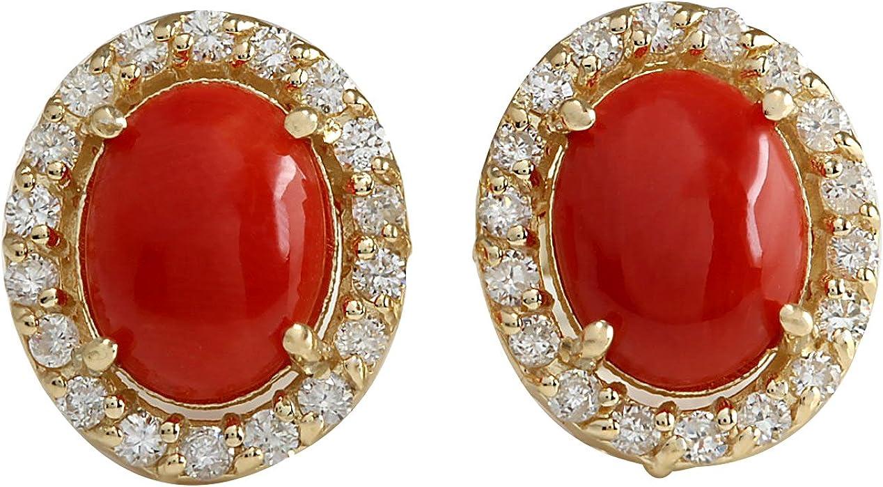 Pendientes de tuerca de oro amarillo de 14 quilates con coral rojo natural y diamante (F-G, claridad VS1-VS2) para mujer exclusivamente hechos a mano en Estados Unidos.