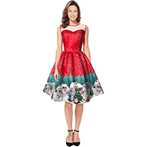 COCOSHINE Womens Santa Claus Print Lace Retro Round Neck Sleeveless Swing Party Dresses