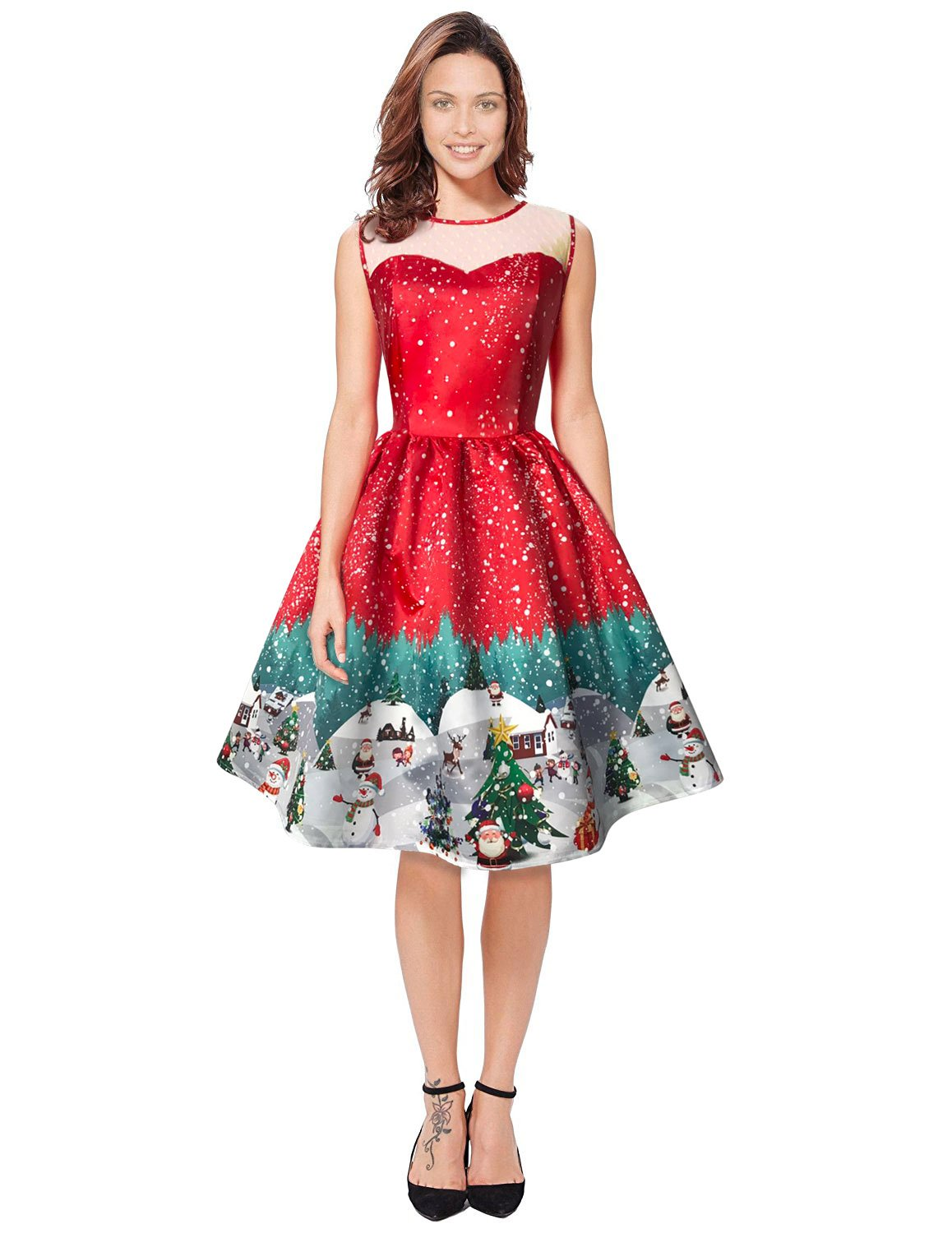 Womens Christmas Gifts Santa Claus Print Lace Retro Round Neck Sleeveless Swing Party Dresses, Red, XX-Large