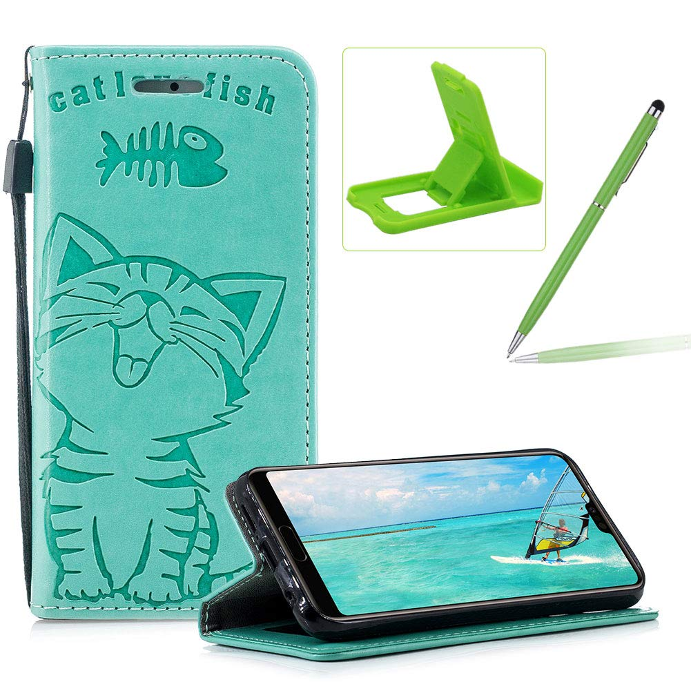 Strap Leather Case for Huawei P20 Lite,Green Wallet Flip Case for Huawei P20 Lite,Herzzer Elegant Classic Solid Color Magnetic Closure Cute Fish Cat Printed Stand PU Leather Case with Soft TPU