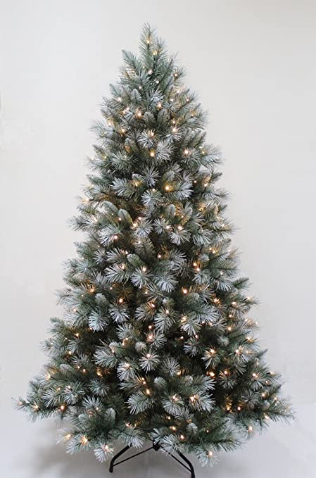 FunkyBuys® Pre-Lit 6FT,180cm Frosted Green Christmas Tree 600 Tips Pine 300 - FunkyBuys® Pre-Lit 6FT,180cm Frosted Green Christmas Tree 600 Tips