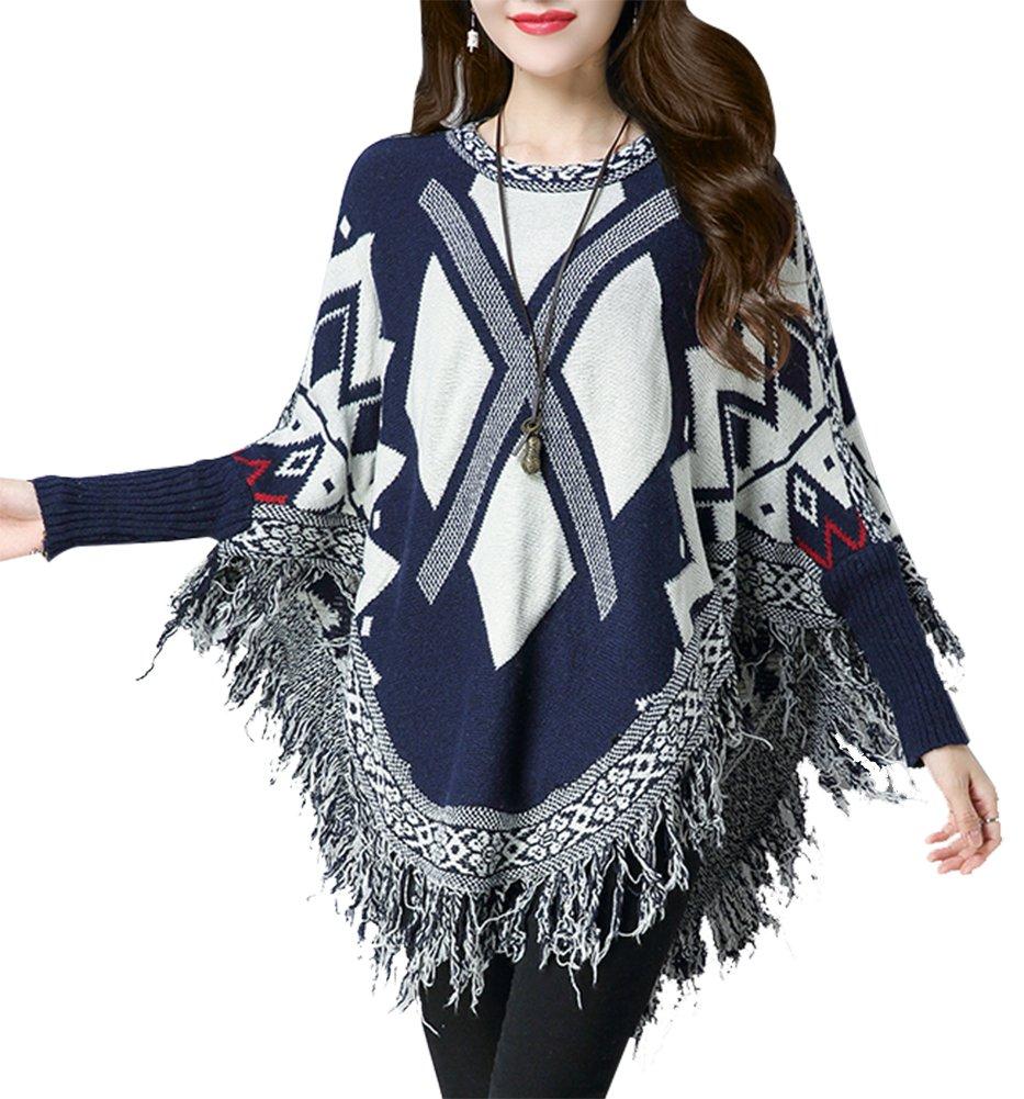 QZUnique Women's Batwing Tassels Poncho Cape Shawls Sweater Cloak Sleeves Blue
