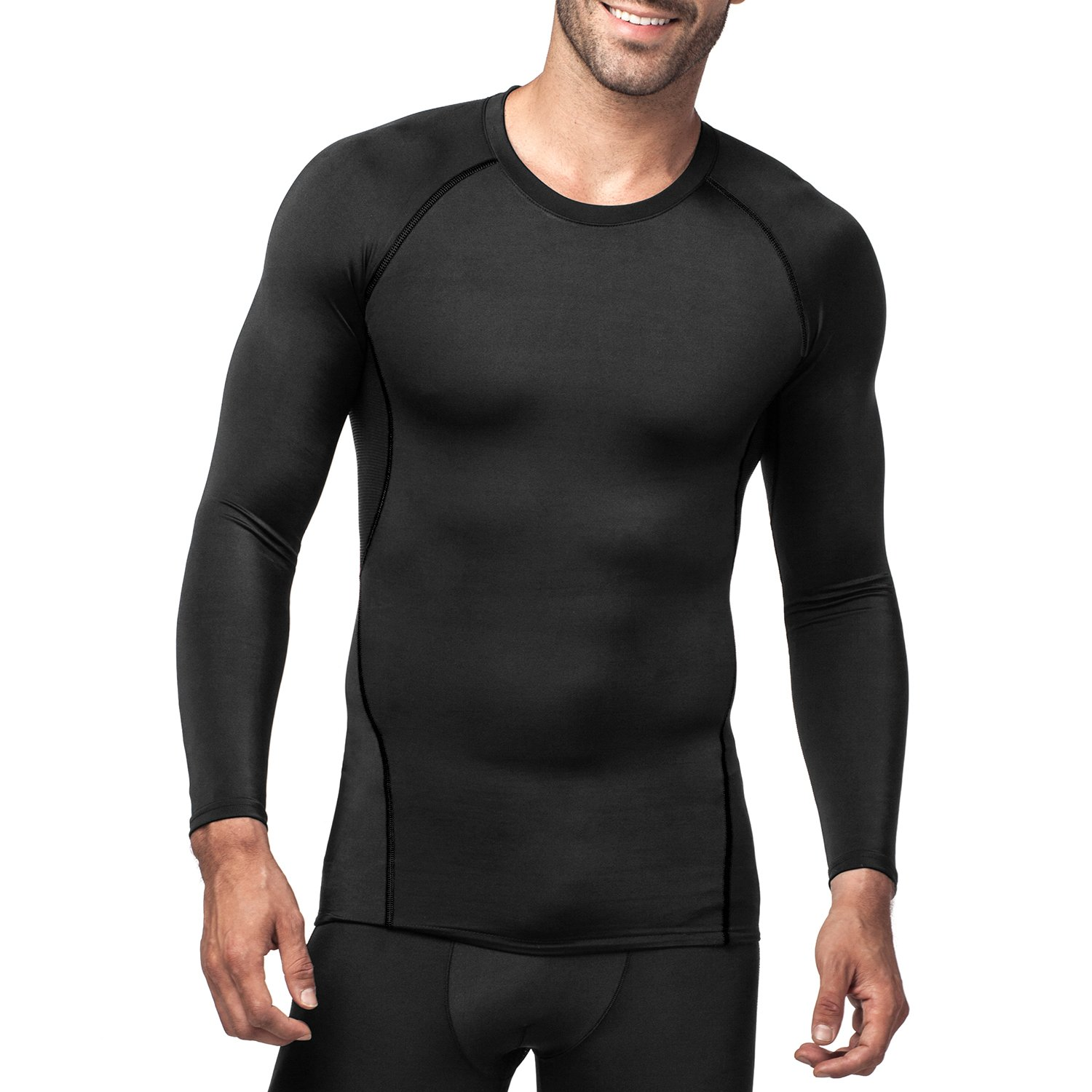LAPASA Men's Compression Top - GRADUATED COMPRESSION - Long Sleeve T Shirt Running Gym Fitness Training Base Layer - M17