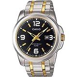 ساعة كاسيو للرجال شاشة سوداء سوار ستانلس ستيل - MTP-1314SG-1AV