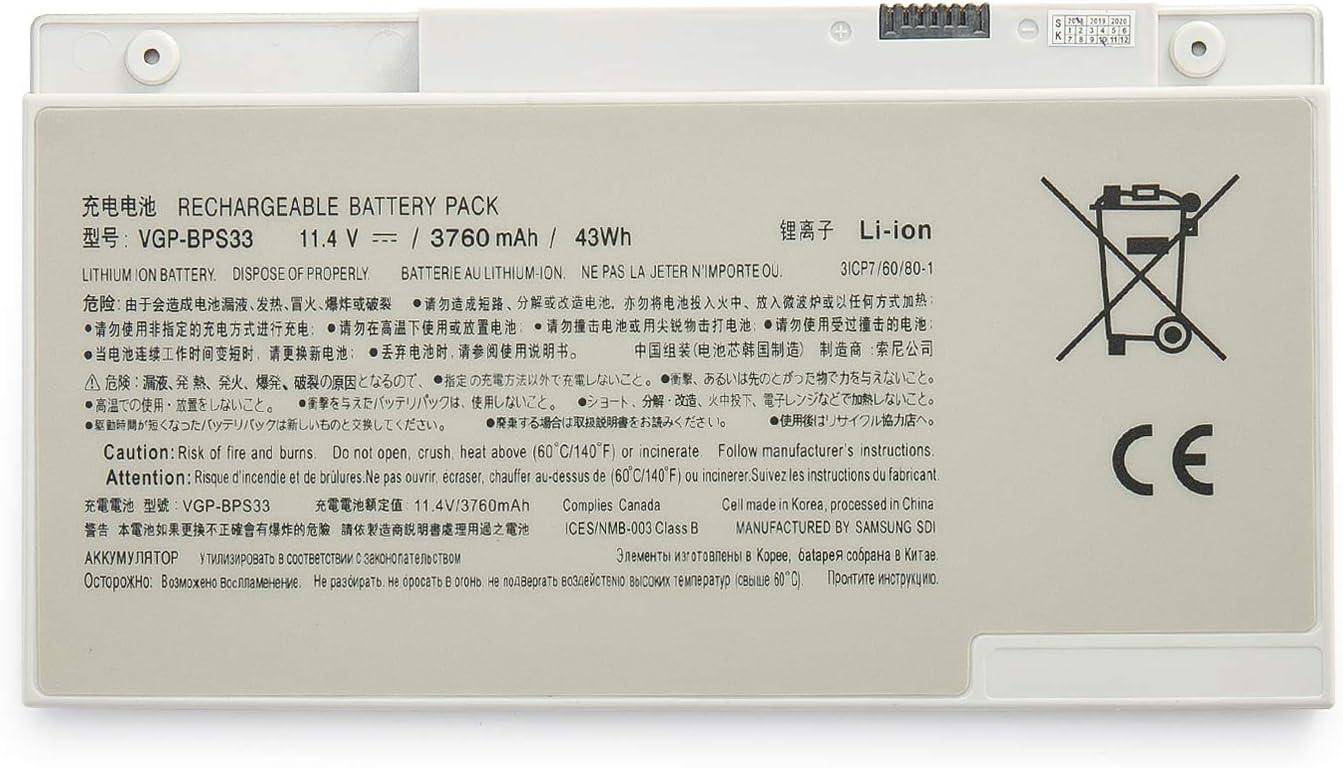 Amanda VGP-BPS33 Battery 11.1V 43WH/3760MAH Replacement for Sony VAIO SVT-14 SVT-15 T14 T15 Touchscreen Ultrabooks SVT15115CXS SVT15113CDS SVT1511ACXS