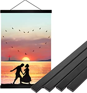 YMM 16x20 16x24 Black Poster Frame ,16 inch Wide Magnetic Poster Hanger for any Length Posters, Prints, Maps, Scrolls, and Artwork - Wall Hanging Wooden Frame
