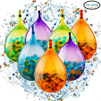 PROLOSO Water Beads Balloon Bombs Pack, Self Sealing, 10000pcs Water beads, 100 pcs of 4'' Balloons, Teamwork Kit, Quick and Easy, for Fun or Gift