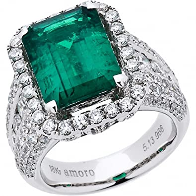 Amazon Amoro 18k White Gold Colombian Emerald Ring and