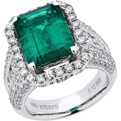 aa2f8dc9db1eb Amazon.com: Amoro 18k White Gold Colombian Emerald Ring and Diamond ...