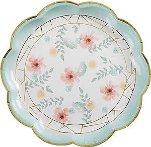 Kate Aspen Geometric Floral 9 (Set of 8) Paper Plate, One Size, Multi