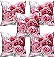 "meSleep Rose 5 Piece Satin Cushion Cover Set - 16""x16"", White"