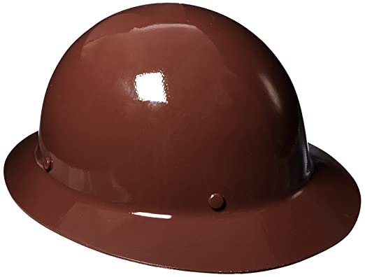 MSA 454672 Skullgard Protective Hard Hat Full Brim, Staz-on Suspension, Standard Size, Brown