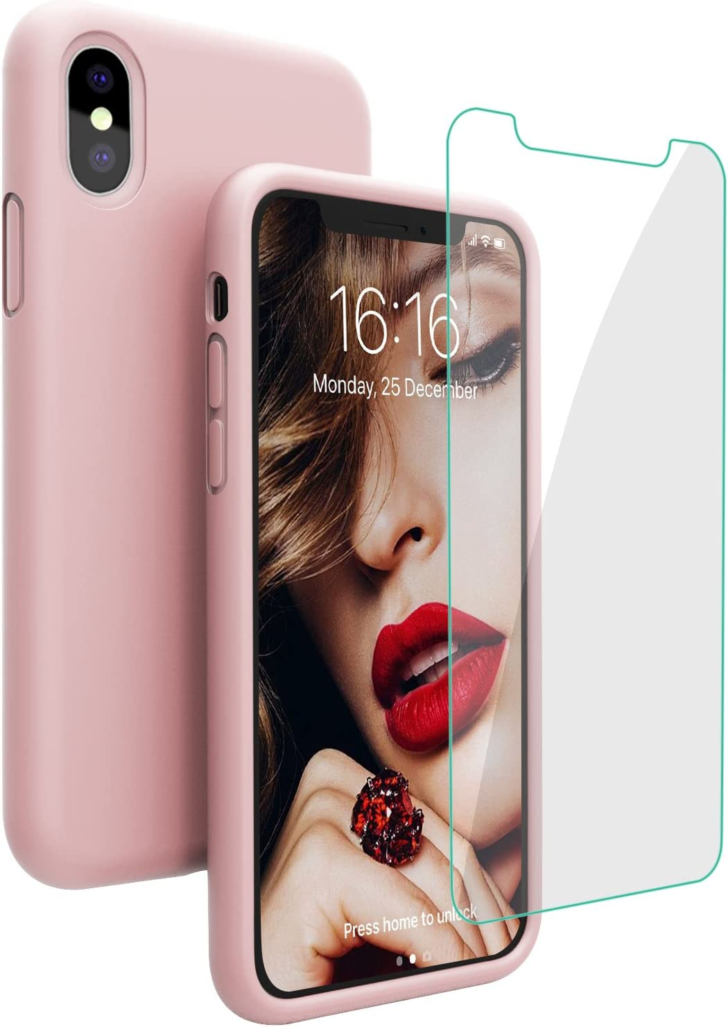 Case for iPhone X iPhone Xs Case, JASBON Liquid Silicone Case with Free Screen Protector Gel Rubber Shockproof Cover Full Protective Case for iPhone Xs/X-Sand Pink