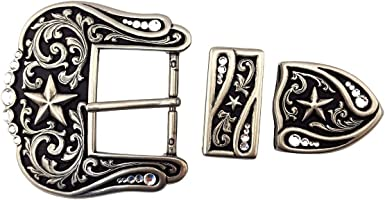 3 pieces Silver finish Western Buckle set with Rhinestone