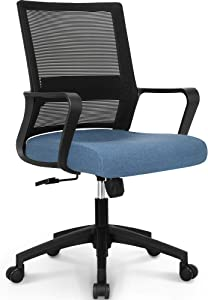 NEO CHAIR Office Chair Ergonomic Desk Chair Mesh Computer Chair Lumbar Support Modern Executive Adjustable Rolling Swivel Chair Comfortable Mid Black Task Home Office Chair, Blue-Fabric