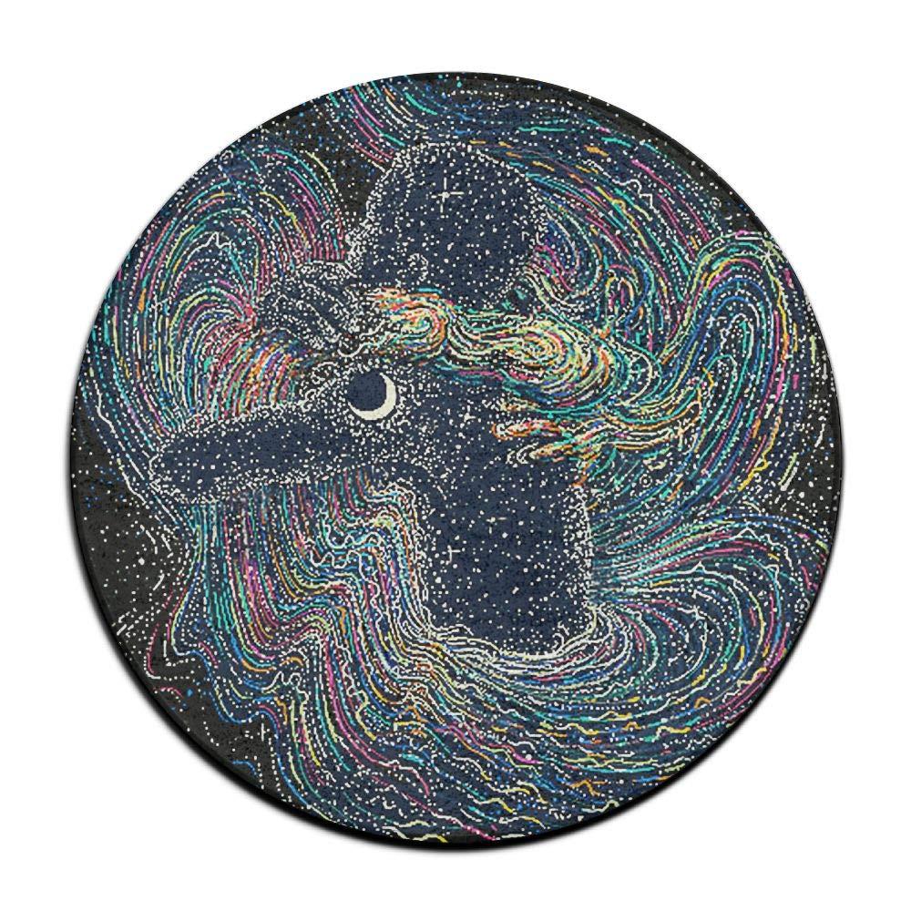 KJDS Anti-Slip Psychedelic Art Animal Round Floor Cushion Pad Slipcover 16 Inch