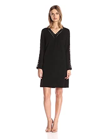 1523818af94 Julia Jordan Women s Long Sleeve Lace Inset Detail Shift Stretch Crepe with  Pockets
