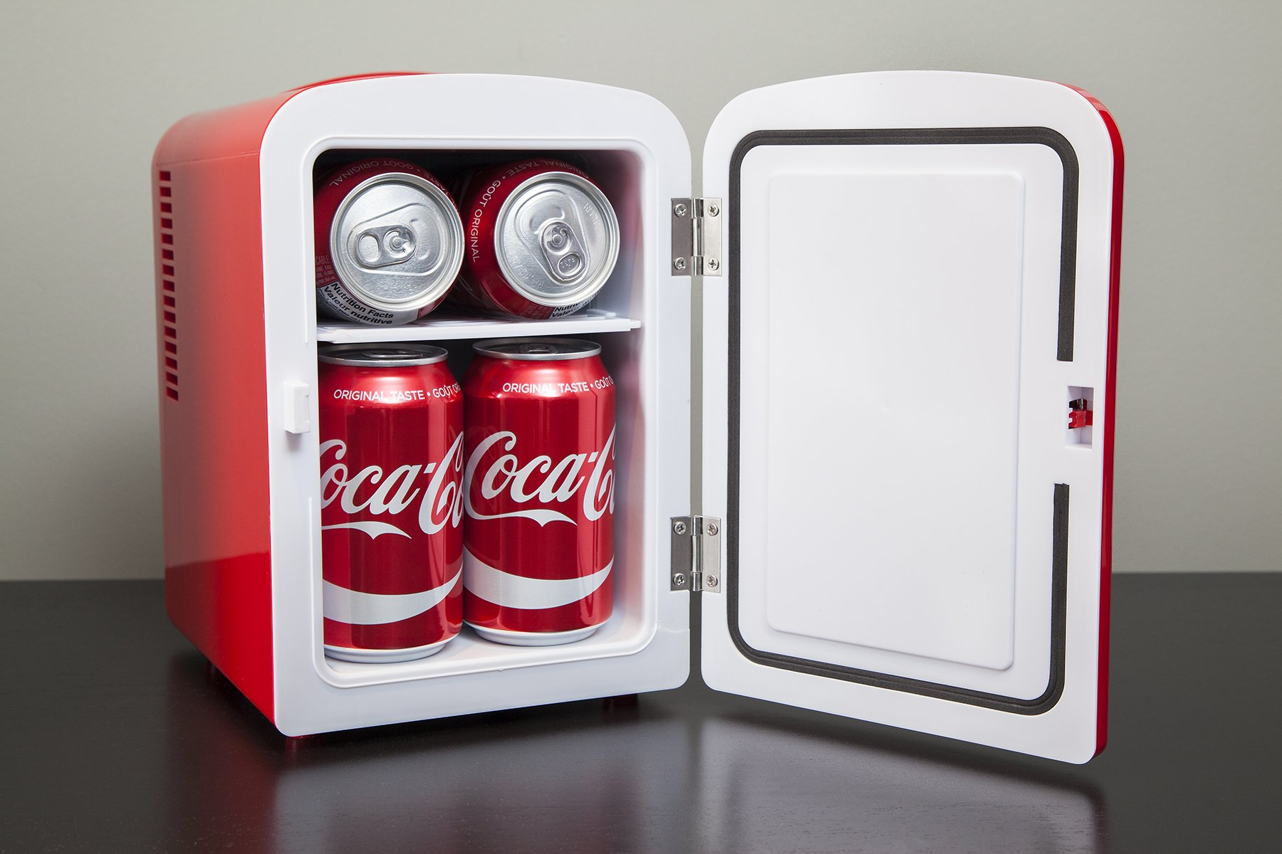 Coca-Cola KWC-4 4 Liter/6 Can Portable Fridge/Mini Cooler for Food, Beverages, Skincare-Use at Home, Office, Dorm, Car, Boat- AC & DC Plugs Included, Red