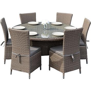 Ascot Juego de comedor de ratán para jardín, con 6 asientos y mesa ...