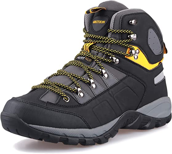 Mens walking casual winter leather waterproof ankle hiking work rain boots shoes