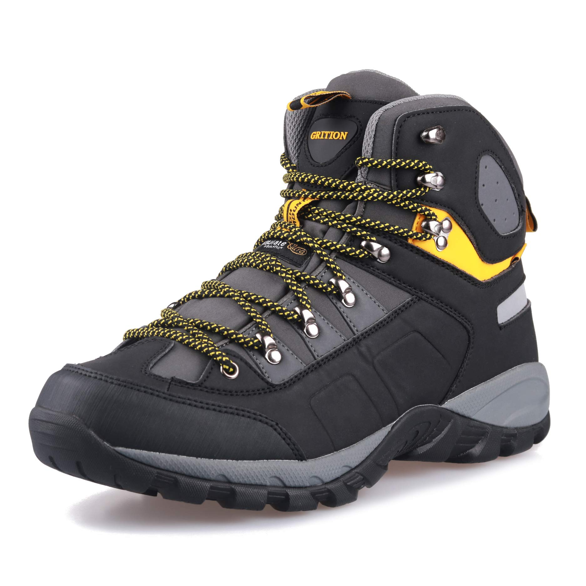 GRITION Men Hiking Boots Waterproof High Top Walking Non Slip Soft Shell Trekking Shoes Black/Yellow