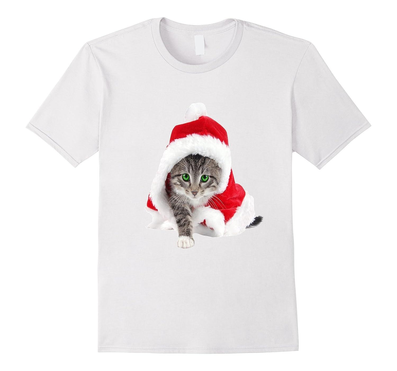 cute santa cat christmas t shirt cl