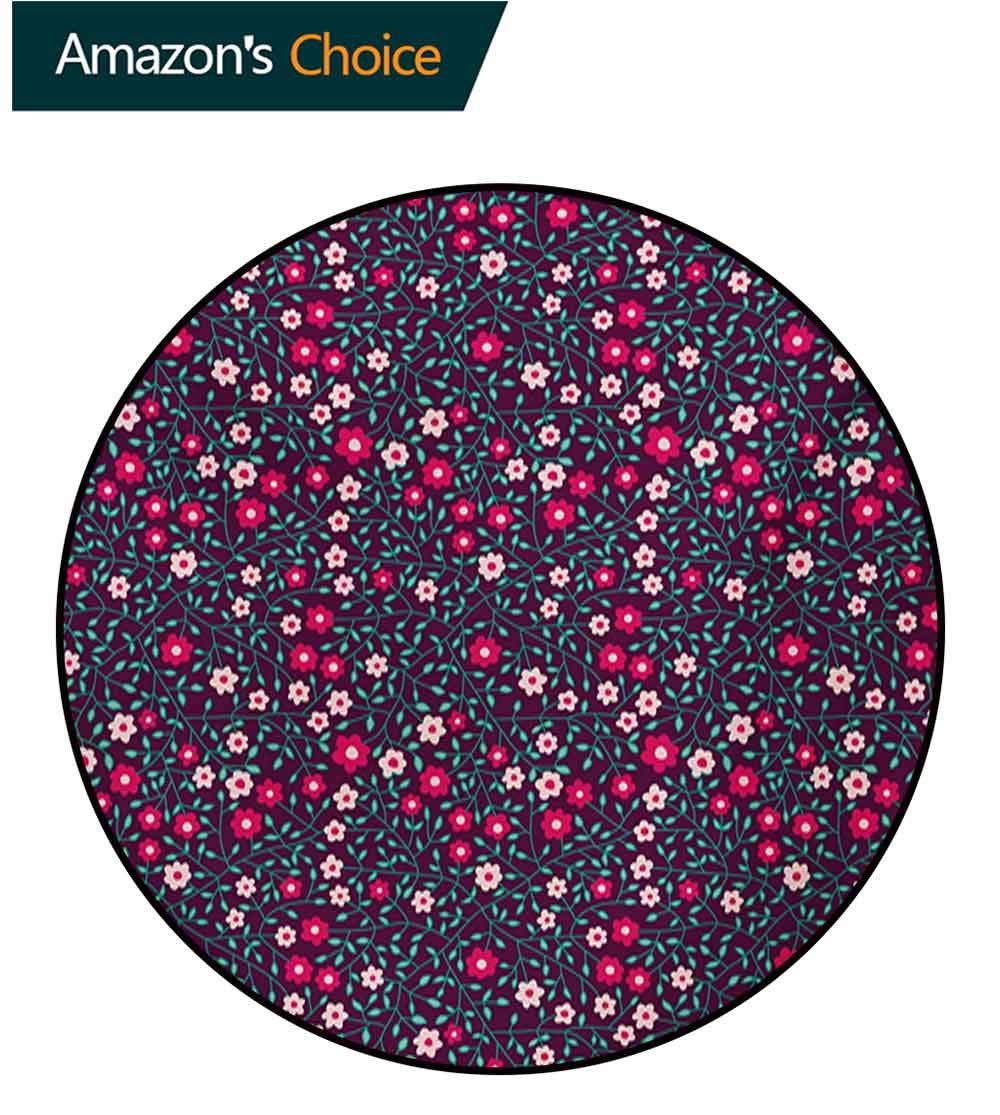 RUGSMAT Floral Small Round Rug Carpet,Graphic Spring Blossoms On Branches Leaves Artistic Nature Garden Illustration Door Mat Indoors Bathroom Mats Non Slip,Diameter-71 Inch Purple Pink Blue