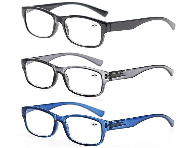 598cbe1d5da MODFANS Reading Glasses Great Value 3 Pair Stylish Eyeglasses Comfort Spring  Hinge Unisex for Men and