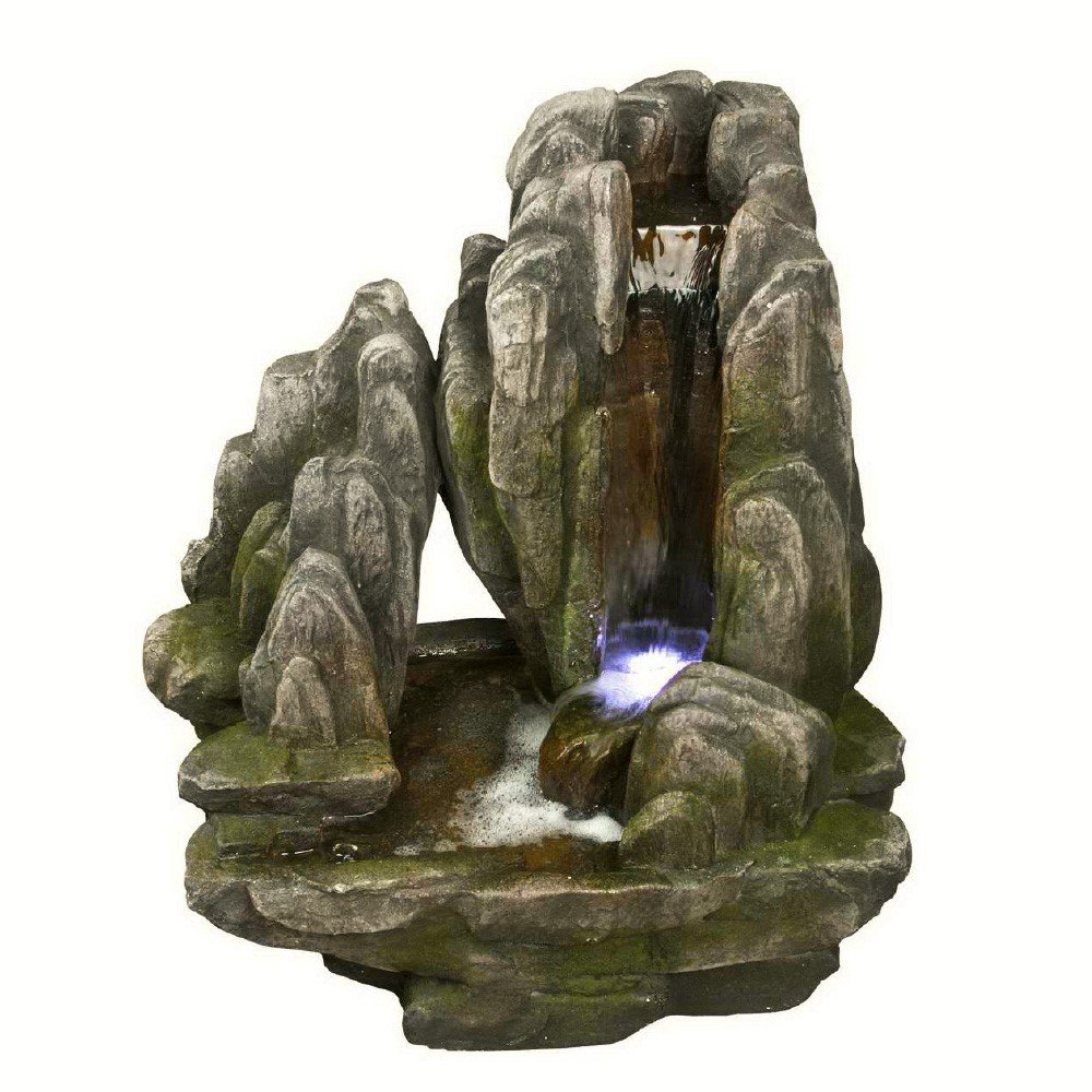 Placid Rock Water Fountain: Large Rock Outdoor Water Feature for Gardens & Patios. Weather Resistant Premium Resin Crafted w/LED Lights. by Harmony Fountains