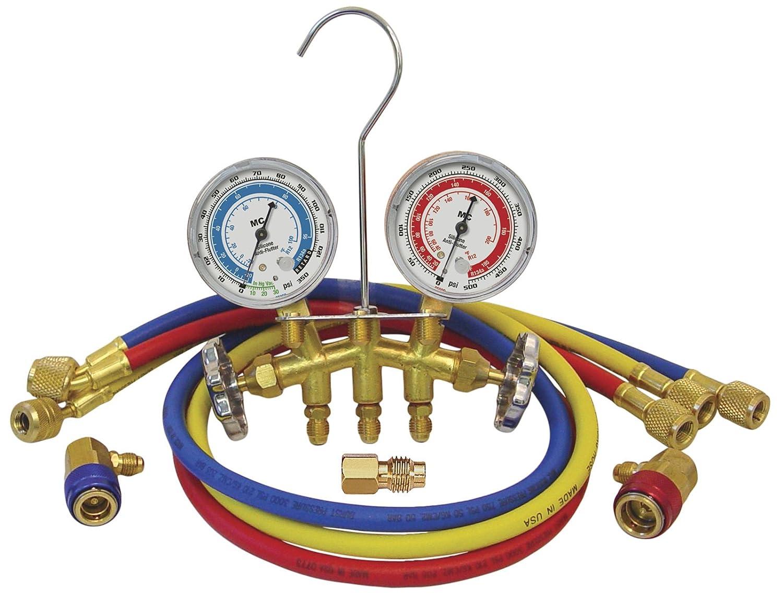 MASTERCOOL 66773 Dual Brass Manifold Gauge Set Gray