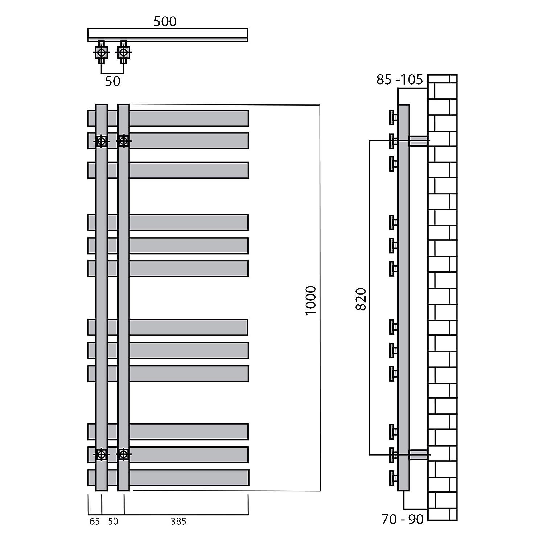 269 Watt nach EN442 Design Badheizk/örper Paneel mit Anschluss links oder rechts Heizk/örper mit versetztem Mittelanschluss 1000 x 500, Chrom
