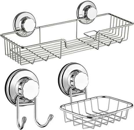 Chrome Wire Over Bath Rack Non Slip Grip Soap Storage Dish Basket Tray Caddy New