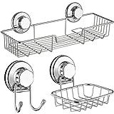 SANNO Bath Shower Caddy/Soap Dish/Double Bath Hook-Bath Organizer Kitchen Storage Basket Shampoo, Conditioner, Soap- Anti Rust stainless steel (3 pack)
