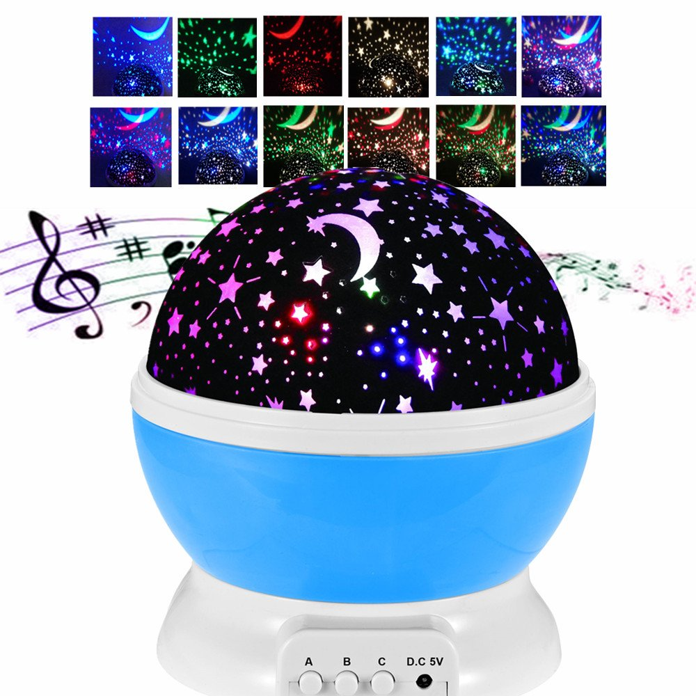 Kanorine Musical Star Night Light Multicolor Rechargeable Star Sky Moon Musical Light Romantic Rotating Projector for Children Kids Bedroom for Christmas Boys&Girls (Rechargeable Blue)