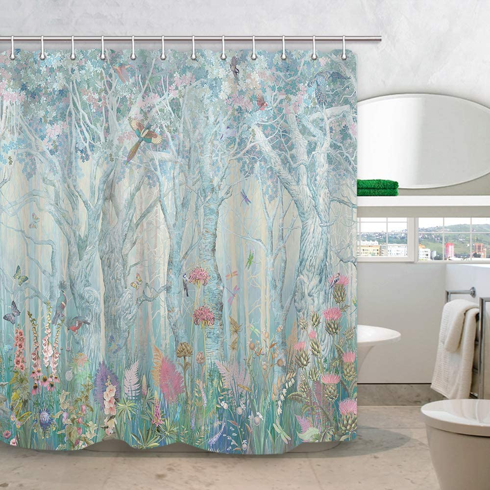 DYNH Enchanted Forest Shower Curtain, Vibrant Fairytale Woodland Jungle with Tree Bird Flowers Plant Fabric Christmas Curtains for Bathroom, Bath Drapes Accessories with Hooks, 69X70IN