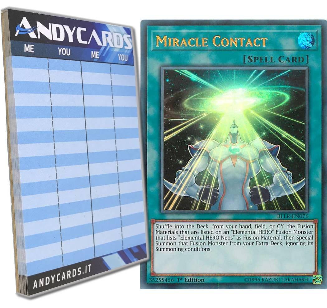 Yu-Gi-Oh! - MIRACLE CONTACT - Ultra Rare BLLR-EN076 in ENGLISH + Andycards Scorepad