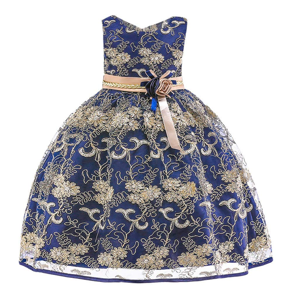 Baby Toddler Girls Birthday Party Dress Clothes 2-7 Years Old Kids Floral Princess Bridesmaid Pageant Gown Dress