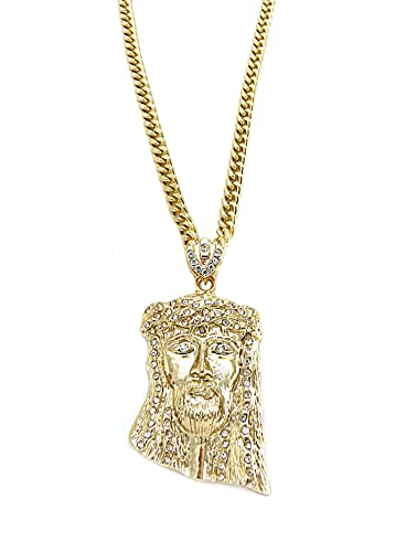 Nidabi man gold look jesus piece pendant chain necklace 60 cm nidabi man gold look jesus piece pendant chain necklace 60 cm cs10041g amazon jewellery aloadofball Images