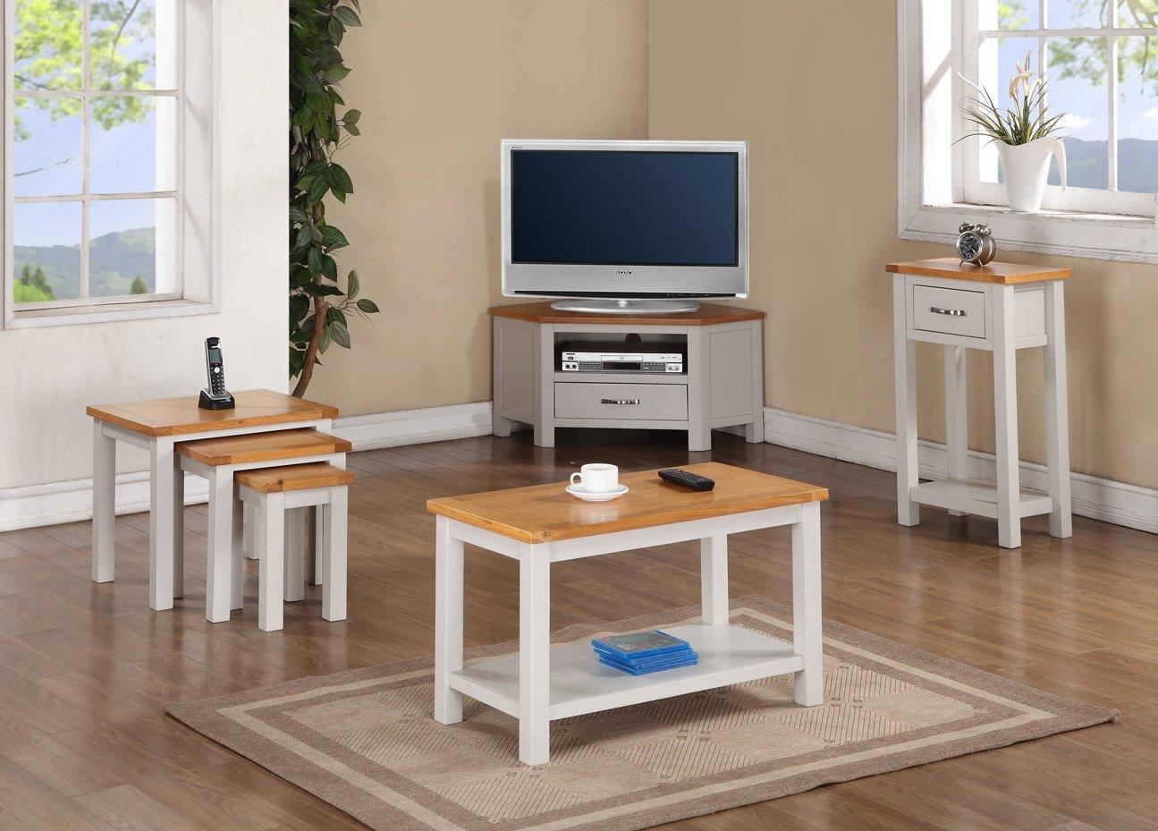 Roseland Furniture Mullion Painted Corner TV Stand with Drawer, Wood, Stone Grey RF09731
