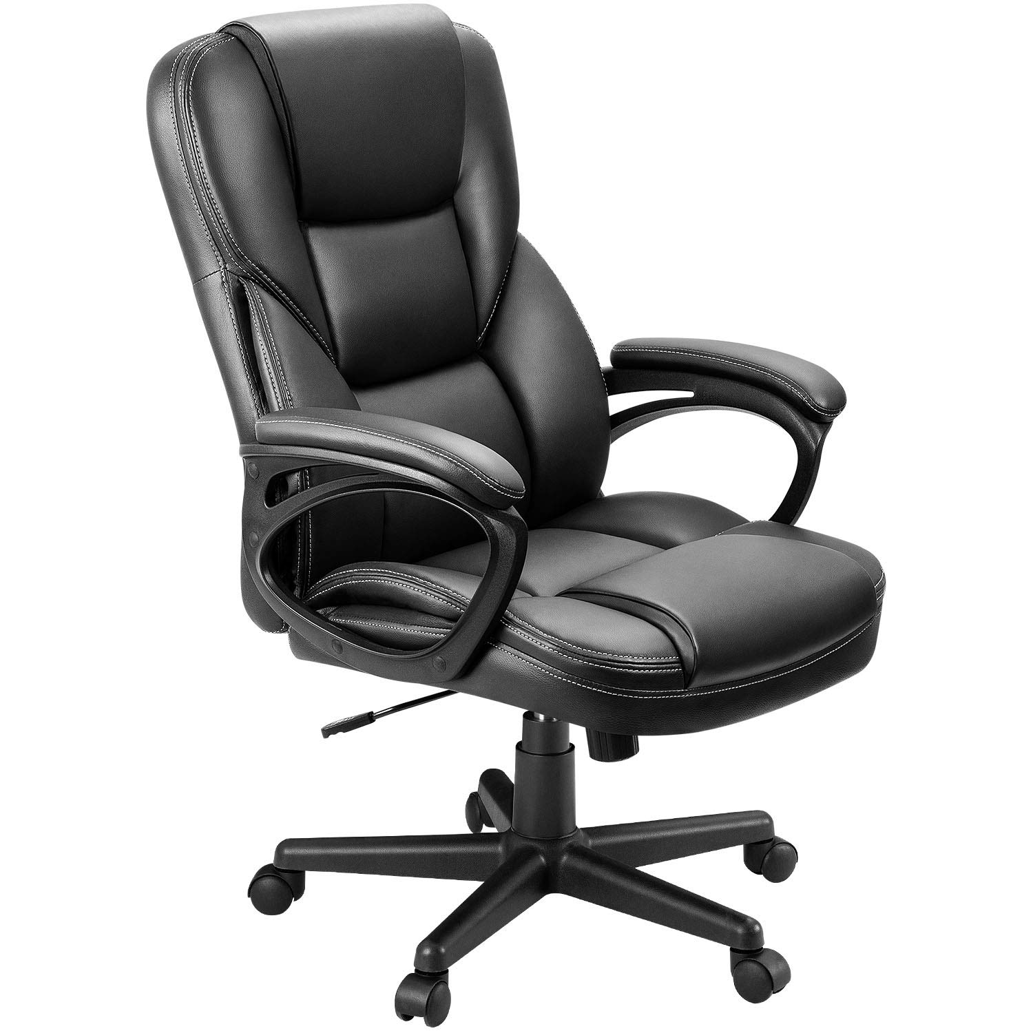 Furmax Office Exectuive Chair High Back Adjustable Managerial Home Desk Chair,Swivel Computer PU Leather Chair with Lumbar Support (Black) by Furmax