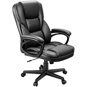 Furmax Office Exectuive Chair High Back Adjustable Managerial Home Desk Chair,Swivel Computer PU Leather Chair with Lumbar Support (Black)